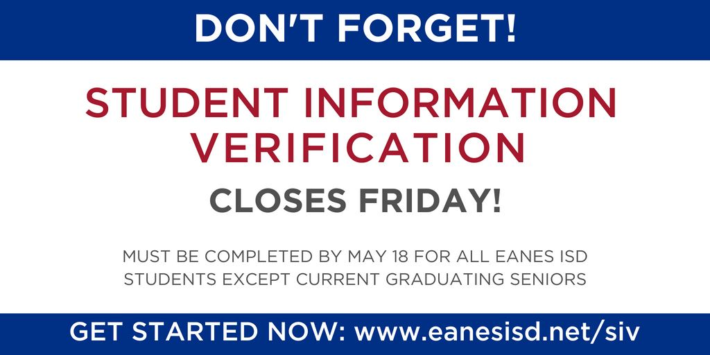 Student Information Verification Now Open